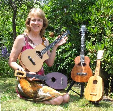 Susan Howell (Suekulele) with ukuleles